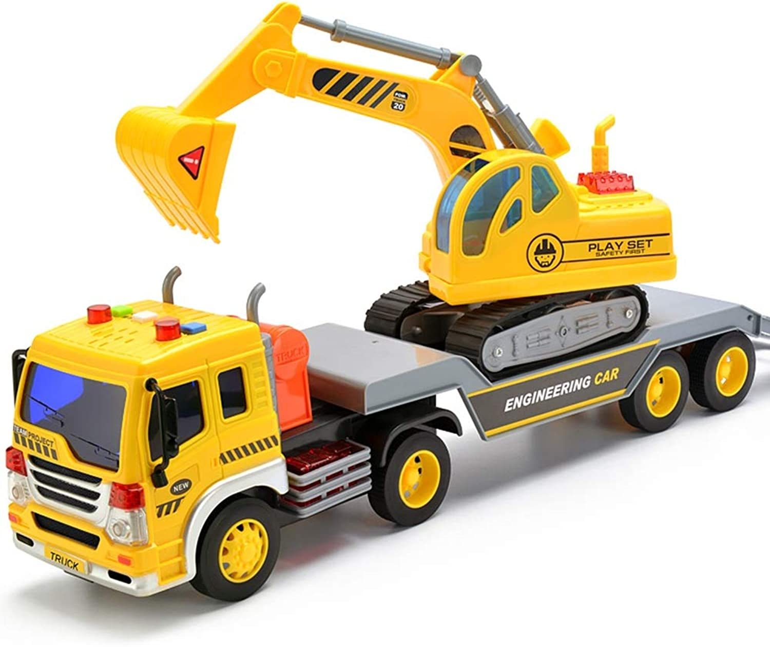 Xyanzi Baby Toys Friction Powered Flatbed Truck with Excavator Tractor  Push and Go Construction Toy for Boys and Girls with Lights and Sounds  Realistic 1 16 Scale Design