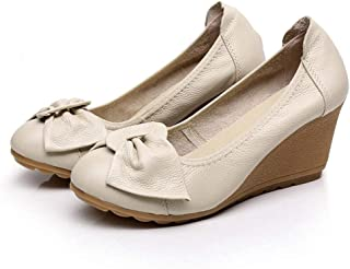 [WOOYOO] パンプス ウェッジソール 厚底 レディースサンダル 浅めペタンコ 蝶結び 可愛い 身長アップ 5cm カジュアル レザー コンフォート 婦人靴 カジュアル 大きいサイズ 防滑 ブラック 走れる