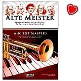 Alte Meister für Trompete in B und Klavier/Orgel - Beliebte Werke von Bach bis Schubert - Notenbuch mit bunter herzförmiger Notenklammer