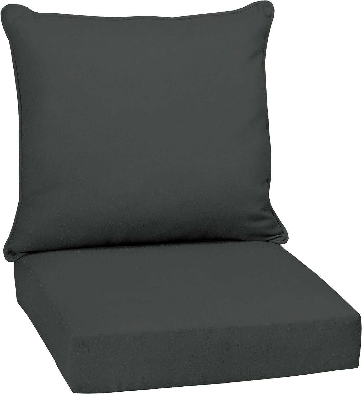 Overstock Arden Selections Slate Canvas Texture Outdoor Deep Seat Set - 24
