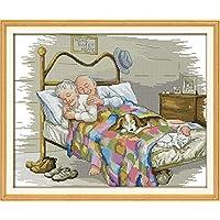 クロスステッチ, クロスステッチキット、お互いを愛している老夫婦、ホームクロスステッチ装飾絵画、DIYキット素材パッケージ (Size : 11CT printing 57×46CM)