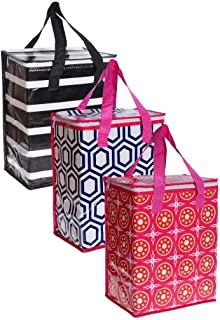 Planet E Reusable Grocery Shopping Bags – Colorful Collapsible Insulated zippered Coolers (Pack of 3)