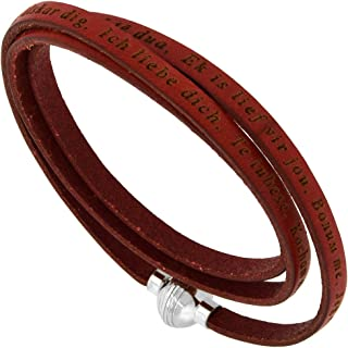 Sabrina Silver Italian Full Grain 3 Wrap Leather I Love You Bracelet Stainless Steel Magnetic Clasp Assorted Colors 7-8 inch Wrist Sizes