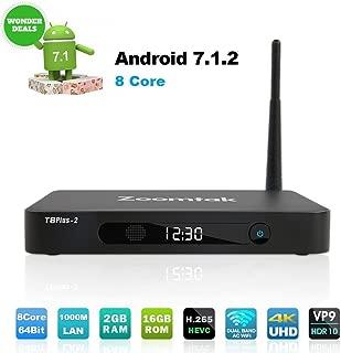 Zoomtak TV Box Octa Core 64Bit 2GB Ram 16GB ROM Android 7.1Smart TV Box 2.4G/5.8G Wi-Fi Bluetooth 4.0H.265HD 4K -Aluminum Shell