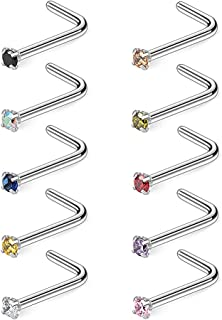 l shaped nose rings 18 gauge