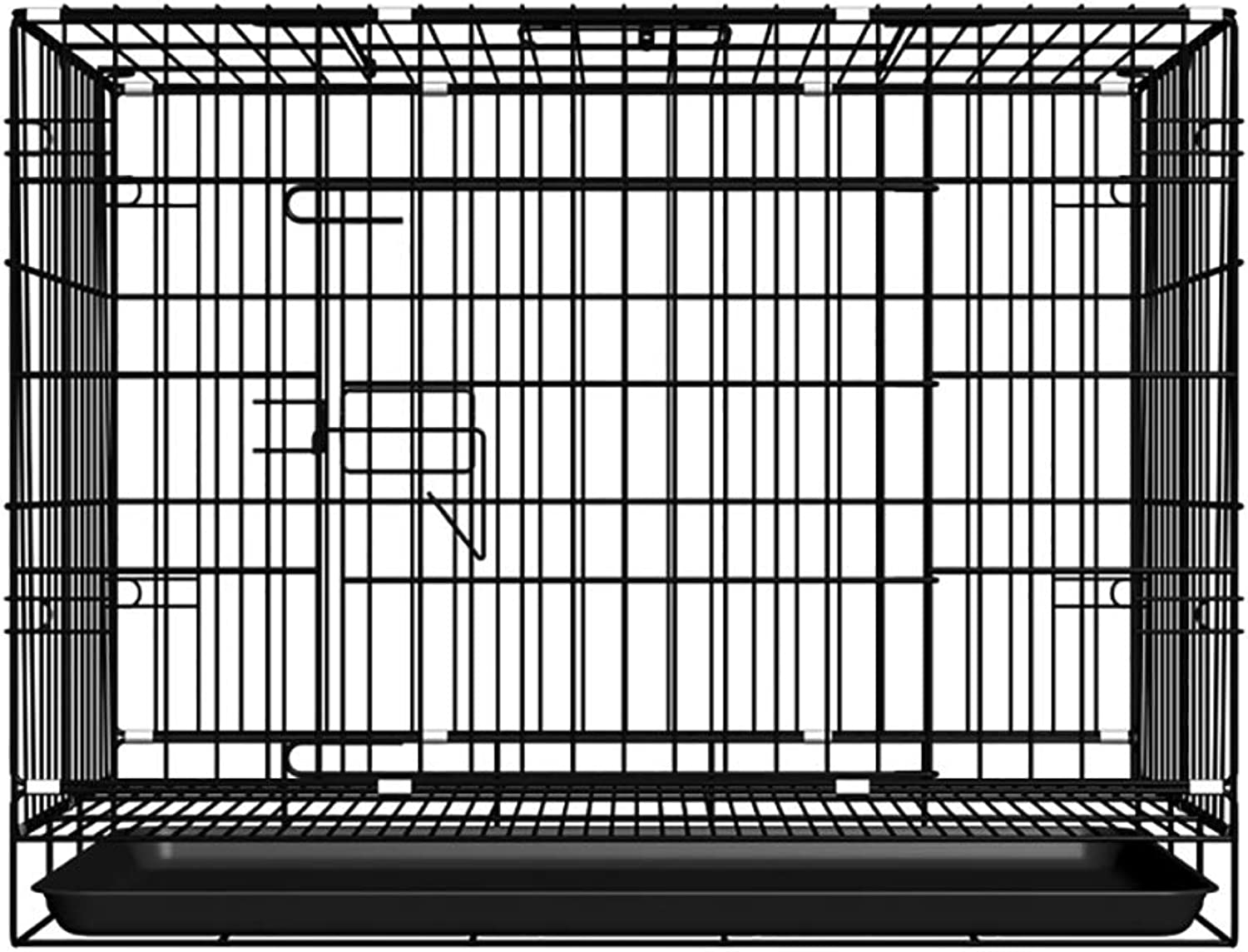 QNMM Folding Metal Dog Crate Puppy Transport Crate Pet Carrier Suitable for Small and Medium Pet Dogs to Rest,Black,L