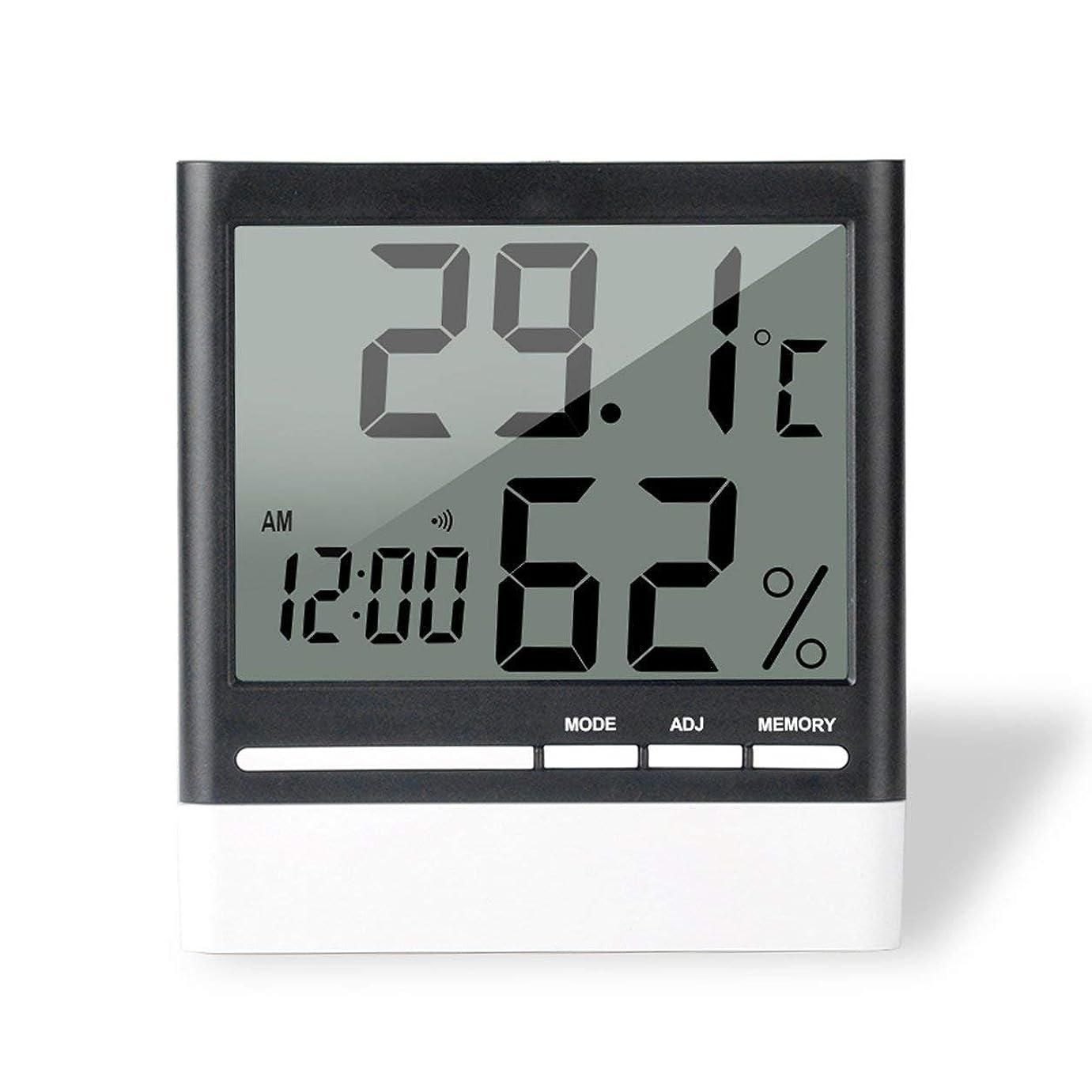 熱狂的な受信機Saikogoods 電子体温計湿度計 デジタルディスプレイ 温度湿度モニター アラーム時計 屋内家庭用 ブラック