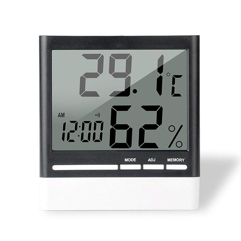 生む無知気づくSaikogoods 電子体温計湿度計 デジタルディスプレイ 温度湿度モニター アラーム時計 屋内家庭用 ブラック