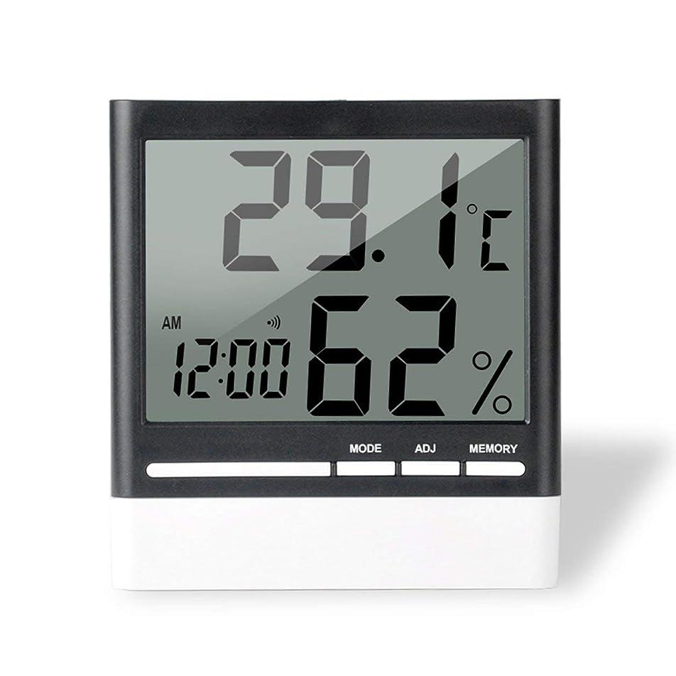 トランスペアレント極めて重要な起こりやすいSaikogoods 電子体温計湿度計 デジタルディスプレイ 温度湿度モニター アラーム時計 屋内家庭用 ブラック