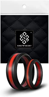 Knot Theory Silicone Wedding Ring Band for Men Women: Superior Non Bulky Rubber Rings - Premium Quality, Style, Comfort - Ideal Bands for Gym, Work, Hunting, Sports, and Travels