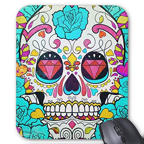 Hipster Sugar Skull and Teal Blue Floral Roses Mouse