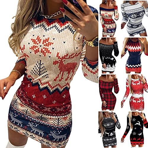N% Vestito da donna con stampa natalizia, a maniche lunghe, girocollo, spalle scoperte, mini abito natalizio elegante lavorato a maglia, Rosso 4, M