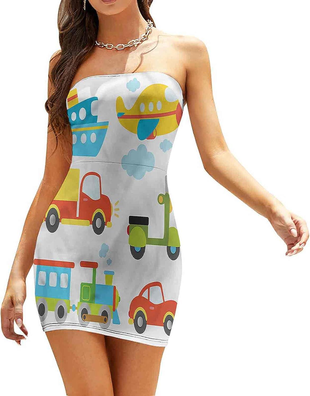 SUZM Women's Strapless Bodycon Club Dress Excavator Loader Machines Dresses