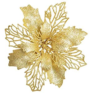 Artiflr 16 Pcs Christmas Poinsettia Flowers, Artificial Flowers Glitter Poinsettia Christmas Wreath Christmas Tree Ornaments for Christmas Decorations, Gold