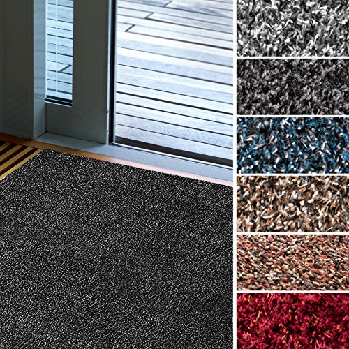 Mammut Fußmatte Karat für Eingangsbereiche | extra saugstarke Schmutzfangmatte aus Baumwolle | rutschfest | waschbar | zahlreiche Größen | viele Farben | 40x60 cm | Anthrazit
