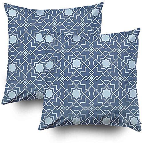 koniqiwa Art Traditional Ara-Bic Tangled Lattice Pattern-Nahtloser Vektor-Hintergrund-Satz von 2 dekorativen quadratischen Wurfs-Kissenbezügen