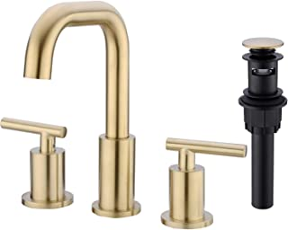 TRUSTMI 2-Handle 8-16 Inch Bathroom Sink Faucet with Pop Up Drain Assembly 3 Hole Deck Mounted 360-Degree Swivel Spout with cUPC Water Supply Hoses, Brushed Gold