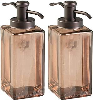 mDesign Decorative Square Glass Refillable Liquid Soap Dispenser Pump Bottle for Bathroom Vanity Countertop, Kitchen Sink - Holds Hand/Dish Soap, Hand Sanitizer, Essential Oils - 2 Pack - Sand/Bronze