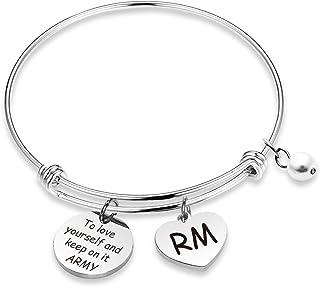 WENATA Kpop BTS Bangtan Boys Bracelet to Love Yourself Army Never Mind Charm Bracelet Inspirational Gift BTS Lover Fans Jewelry Gift for BTS Fans Girl
