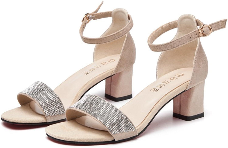 T-JULY Womens Ladies Fashion Suede Platform Chunky Heel Pumps Peep Toe Buckle Ankle Strap Slip on Dress Sandals