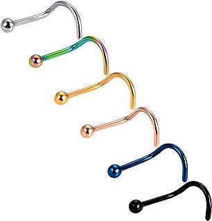 Mudder 6 Pezzi 20 Gauge Curvo Naso Anello Naso a Bottone 316l Acciaio Chirurgico Viti di Twister Piercing a Corpo Gioielli