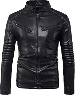SANFASHION Mens Faux Leather Genuine Jacket Biker Transition Fashion Cotton Lambskin Leather Zipped Slim Fit Vintage Casua...