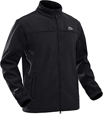 TACVASEN Men's Fleece Full Zip Stand-up Collar Warm Fleece Jacket with Zipper Pockets