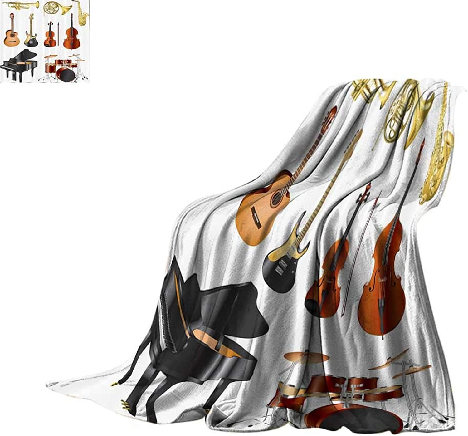 Throw Blanket Music Decor,Collection of Musical Instruments Symphony Orchestra Concert Composition Print Summer Quilt Comforter Bed or Couch 60 x35