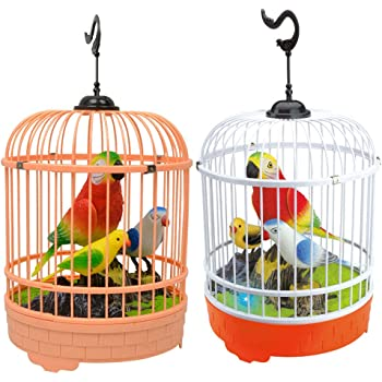 YeahiBaby Singing Chirping Bird Toy in Cage Sound Activated Realistic Sounds and Movements (Random Color)