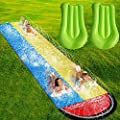 SOARRUCY Lawn Water Slides for Kids Adults - Garden Backyard Giant Racing Lanes and Splash Pool, Outdoor 15.7FT Water Slides with Crash Pad Outdoor Water Toys