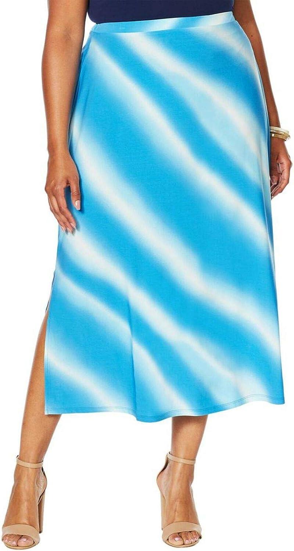Antthony Women's Plus Size Ocean Waves Tie Dye Print A-Line Skirt