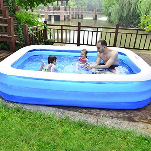 Inflatable Swimming Pool Oversize Wear-Resistant PVC Thickening Air Swimming Pool 1-8 People Use Family Lounge Pool Interaction Summer Water Swimming Pool for Kids Adults Outdoor Portable