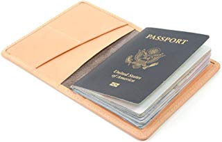 Blush pink leather passport wallet for women. Nude travel wallet for passport, cards and cash. Made in USA by Made In Mayhem