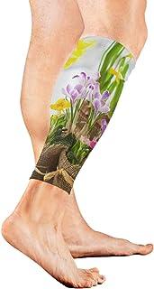 Primavera Flor Amarilla Narciso con Pantorrilla de jardín Manga de compresión Calcetines de compresión para Shin Splint Calf Alivio para el Dolor Hombres, Mujeres y Corredores Mejora la recuperación