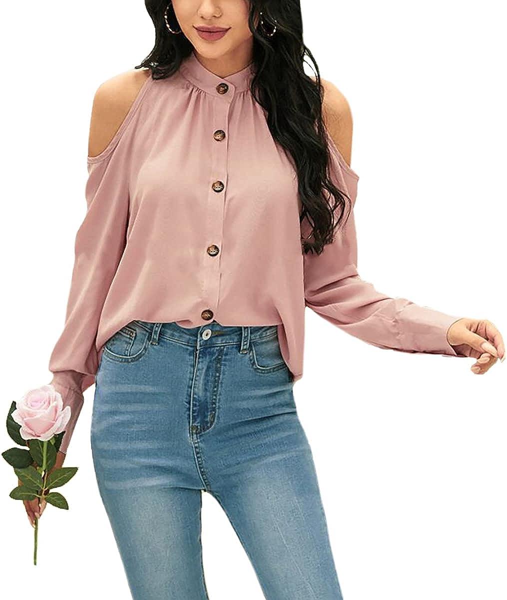 ZOCAVIA Women Halter Tops Cold Shoulder Nine Quarter Bell Sleeve Crossed Neck Blouse Solid Color Off Shoulder Tunic Shirts