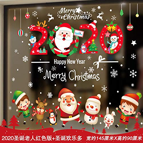 Adornos navideños Adornos navideños pegatinas de vidrio pegatinas para puertas-Versión roja de...