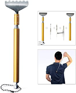 Extendable Back Scratcher, Multi-Function Four Sections Telescopic Handheld Portable Pocket Self Massager Build-In Earpick and Screwdriver
