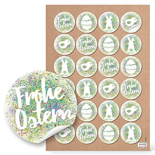 48 Stück runde grün weiße Osteraufkleber 4 cm FROHE OSTERN selbstklebende Aufkleber Sticker Etiketten - Verpackung Ostergeschenk Papier Osterdeko Osterverpackung der give-away Osterhase