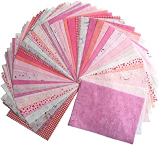 WADSUWAN SHOP 60 Sheets Mixed Pink A4 Mulberry Paper Sheet Design Craft Hand Made Art Tissue Japan Origami Washi Wholesale Bulk Sale Unryu Suppliers Thailand Products Card Making