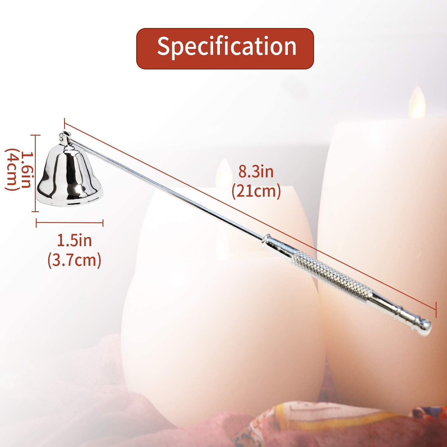 Candle Snuffer Candle Extinguisher Snuffer Accessory Metal Candlesnuffers with Long Handle for Putting Out Candles Extinguish Nest Flame Scented Candles Aromatherapy Candles Jar Candles Silver