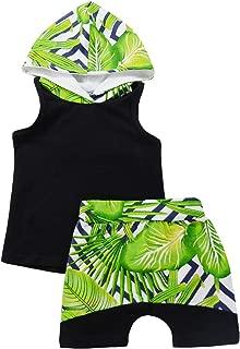 Toddler Baby Boy Sleeveless Striped Hoodie Shirt + Shorts 2Pcs Summer Outfit Set