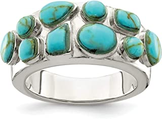925 Sterling Silver Synthetic Blue Turquoise Inlay Band Ring Size 8.00 Stone Fine Jewelry Gifts For Women For Her