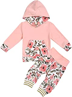 FUTERLY Toddler Baby Girl Clothes Long Sleeve Hoodie Sweatshirt Top and Floral Long Pants Outfit Sets (Pink-D, 18-24 Months)