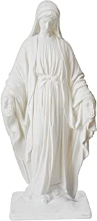 """Emsco Group 2290W Virgin Mary Statue – Natural Stone Appearance – Made of Resin – Lightweight – 34"""" Garden, WHITE"""