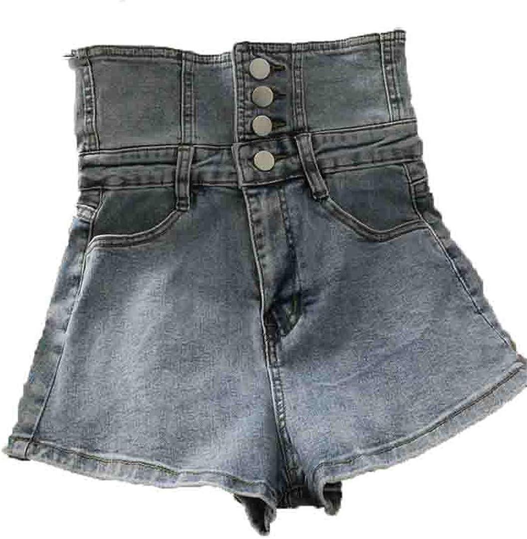 YHK Bandage Women Denim Shorts Summer Single-Breasted Black Jeans Shorts