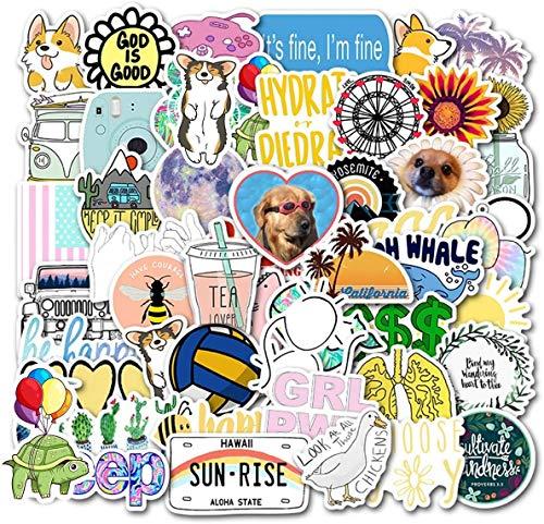 85pcs Niedliche Stickers VSCO Girl ästhetische Aufkleber Laptop und Wasserflasche Aufkleber Pack für Jugendliche, Mädchen Vinyl Aufkleber Langlebig