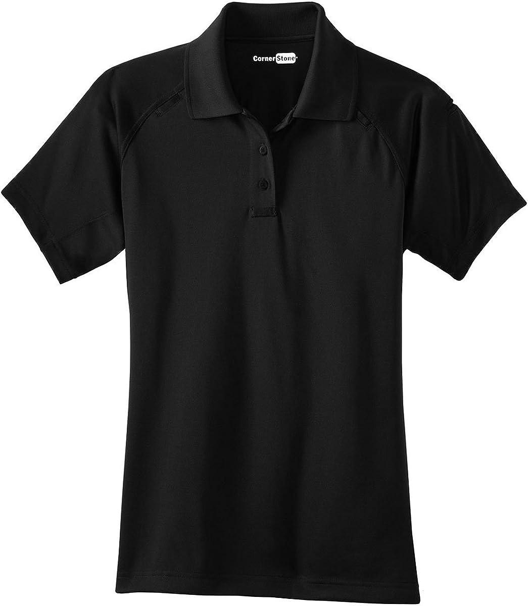 CornerStone Women's Snap Collar Fitted Polo Shirt. CS411 - Black CS411 2XL