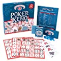 Poker Keno Game Set with Cards and Chips - Adult Family Casino Board Game Night Gift Includes Deck of Playing Cards, 12 Boards, 200 Bingo Chips