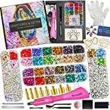 Hotfix Applicator with Rhinestones Templates, Full 8 Tips, 26 Colors Bigger Bedazzler Kit with Rhinestones, Worthofbest Rhinestone Applicator Setter Tool Kit, 30/20/16SS, Glove,Marker, Gift Box w/Bag