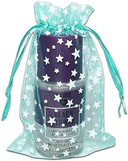 TheDisplayGuys 100-Pack 4x6 Sheer Organza Gift Bags with Drawstring (Medium) - Metallic Stars (Teal/White) - for Wedding P...